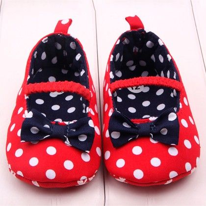 Red Shoes With Navy Bow - Aww Hunnie!!
