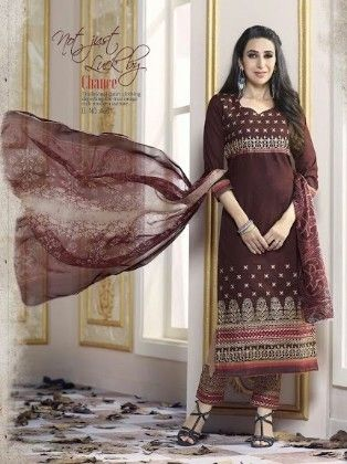 Dark Brown Cotton With Embriodery Dress Material - Fashion Fiesta