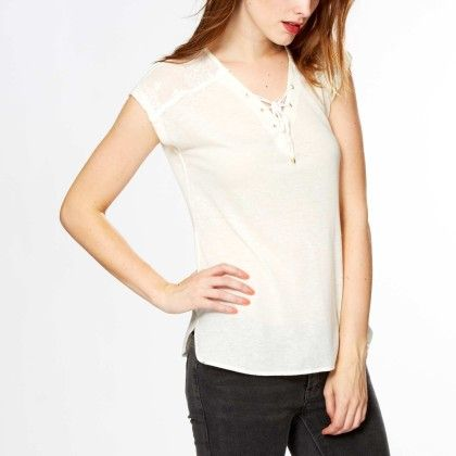 T-shirt With Lace Yoking + Lacing At The Neckline White - Kiabi