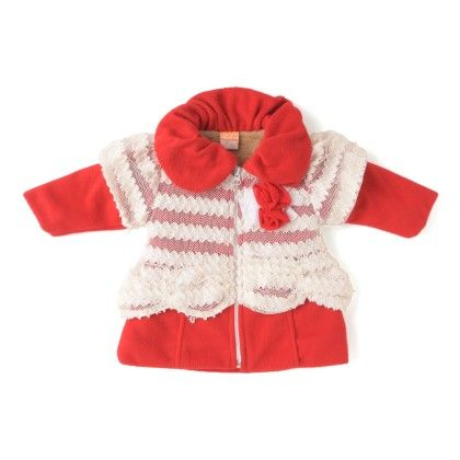 Lace Coral And Velvet Havy Quilted Hooded Crew Neck Style Cot - Little Kangaroos