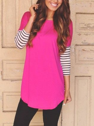 Long Sleeve Striped Loose T-shirt - She In
