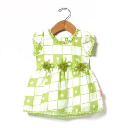 Brasso Printed Dress With Tissue Flower-green - Chocopie