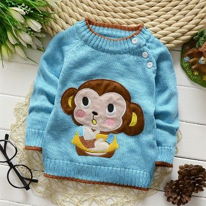 Blue Sweat Shirt With Cute Monkey Applique - Mellow