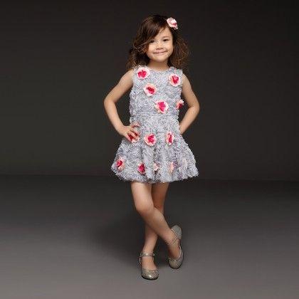 Grey Flower Dress - Petite Kids