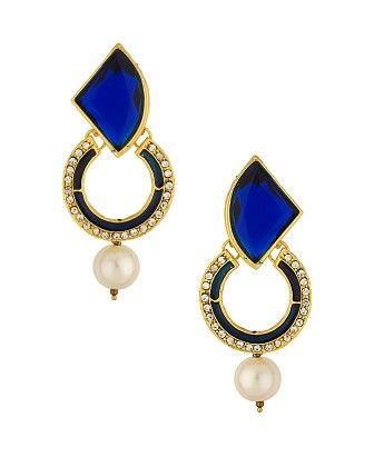 Adorable Gold Tone Danglers Studded With Blue Stones And White Cz - Voylla