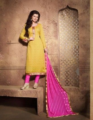 Yellow Pink Cotton Dress Material - Fashion Fiesta