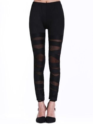 Black Skinny Sheer Mesh Bandage Leggings - She In
