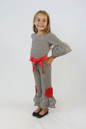 Red And Navy Stripe Flower Jumpsuit - Tutu And Lulu