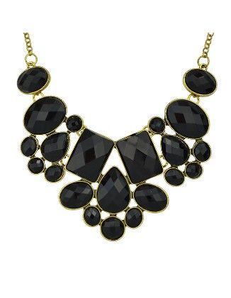Black Imitation Gemstone Chunky Statement Necklace - She In