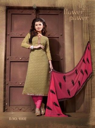 Beige And Pink Cotton Dress Material - Fashion Fiesta