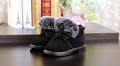 Black Furry Shoes With Tie Up Laces - Dancing Toes