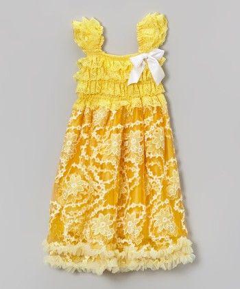 Yellow Sleeveless Dress With White Bow - Tutu And Lulu