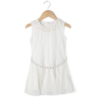Sleeveless Net Fabric With Beads Belt - Cream - Chocopie