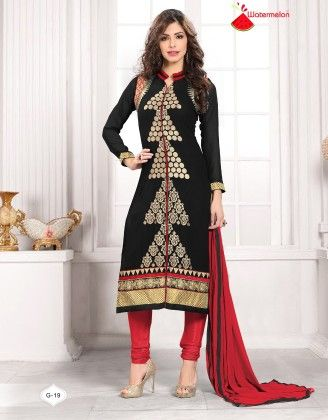 Black And Red Georgette Churidar Semi Stitched Suit - Fashion Fiesta