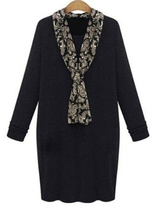Black Shawl Collar Long Sleeve Plus Dress - She In