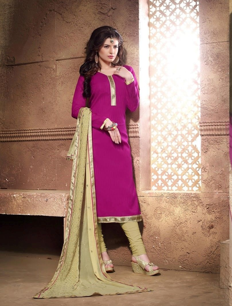Pink And Golden Cotton Dress Material - Fashion Fiesta