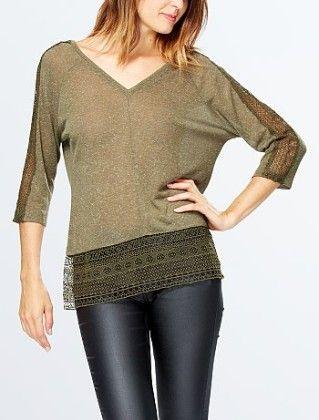 T-shirt With Lace Inset And Low Back Khakhi - Kiabi