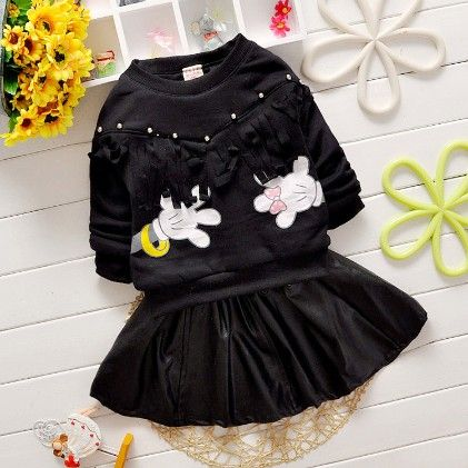 Black Designer Top & Balloon Skirt Set - Chirpy Frost