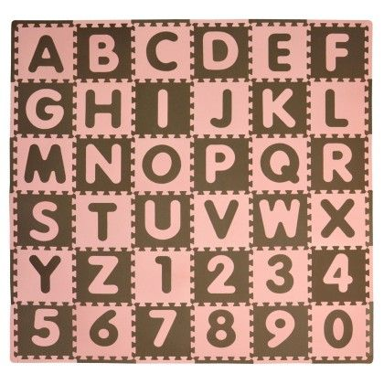 Abc 36 Piece Play Mat Set-pink Brown - Tadpoleshome