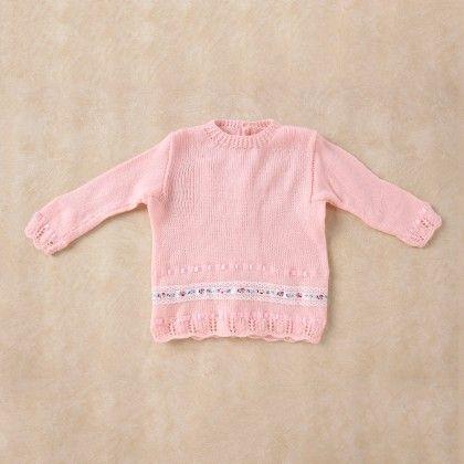 Light Pink Full Sleeve Baby Coat With Lace Border - Knitting Nani
