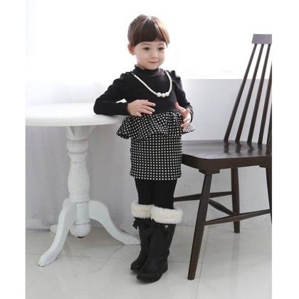 Black And White Peplum Dress - With Necklace - Petite Kids
