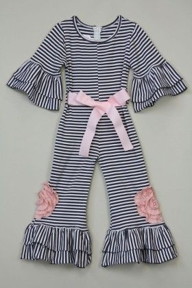 Pink And Grey Stripe Flower Jumpsuit - Tutu And Lulu