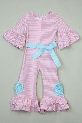 Pink Stripe Flower Jumpsuit - Tutu And Lulu