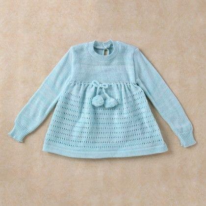 Light Blue & White Blended Full Sleeve Dress - Knitting Nani