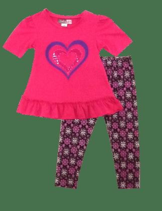 Glitter Heart And Printed Legging Set  -fushia - Baby Ziggles