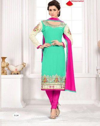 Green Georgette Churidar Semi Stitched Suit - Fashion Fiesta