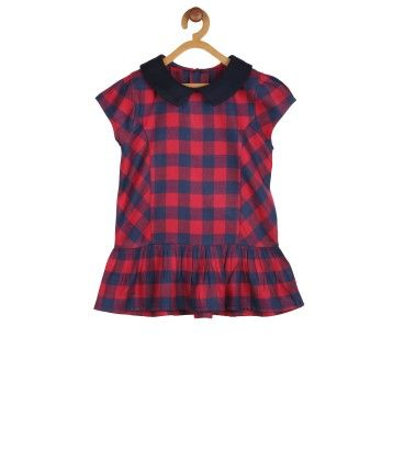 Red Blue Checkered Peplum Top - My Lil'Berry