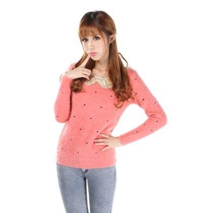 Neck Sequnce Cardigan Pink - STUPA FASHION