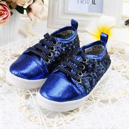 Shining Shimmer Shoes With Tie-up Laces - Blue - Twinkle Toes