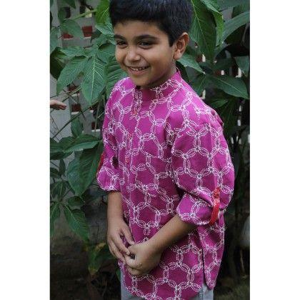 Boy's Short Kurta With Roll Up Sleeves And Tab Detail Falsa Pink - Indigene