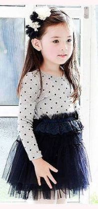Gorgeous White & Dark Blue Polka Tutu Dress - Pinni Kidz