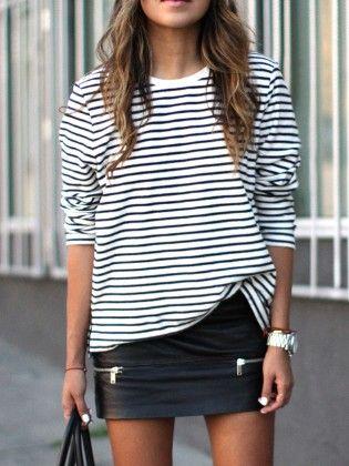 White Black Long Sleeve Striped T-shirt - She In