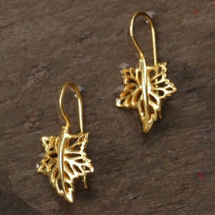 Leaf-shaped Gold Plated Earrings - Flames Of The Forest