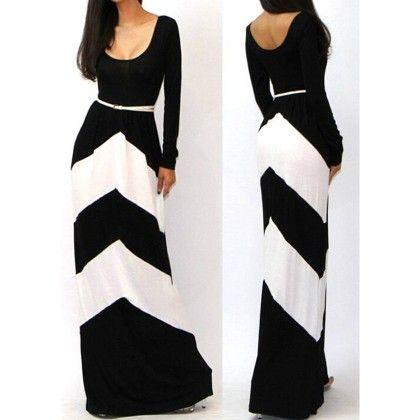 Full Dress With Waist Belt White Black - STUPA FASHION