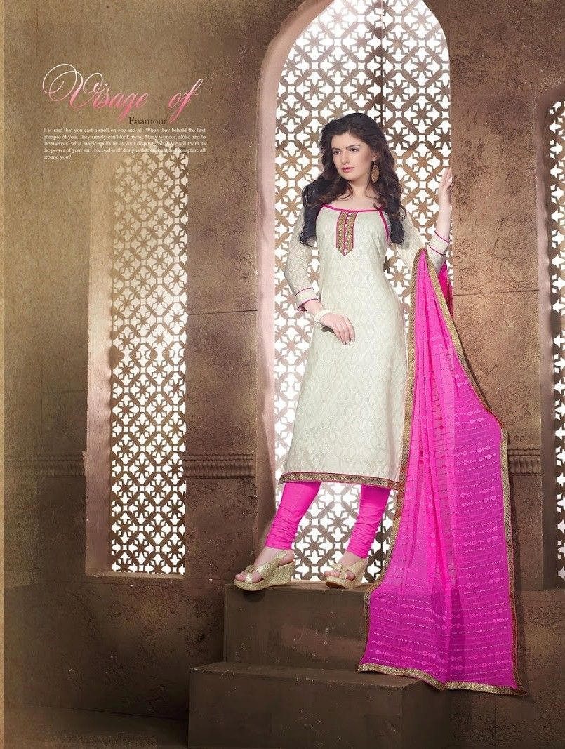 White And Pink Cotton Dress Material - Fashion Fiesta