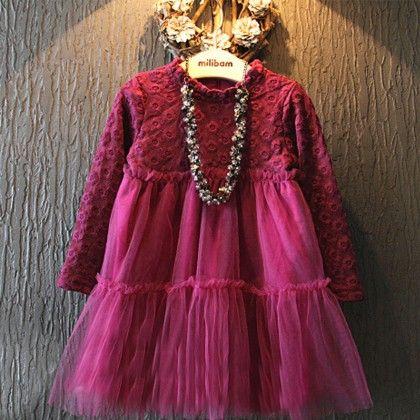 Dresses Lace Mesh Patchwork Long Sleeve Plus Velvet Princess Dress - Aww Hunnie!!