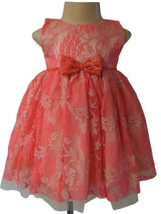 Coral Lace Ceremonial Dress  - Coral - Faye