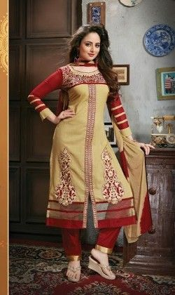 Golden And Red Semi Stitched Suit - Fashion Fiesta