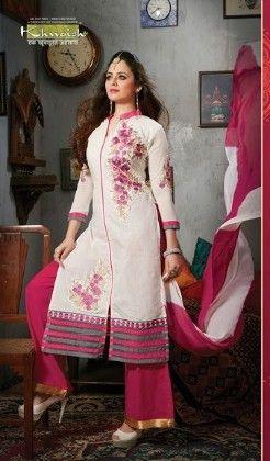 White And Pink Plazzo Style Semi Stitched Suit - Fashion Fiesta