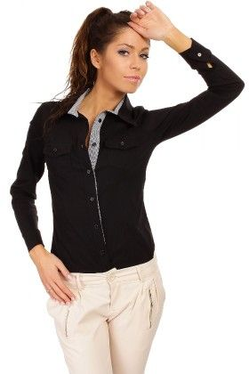 Classic Shirt With Contrast Placket-black - Moe