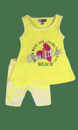 Yellow Sleeveless Top And Stripe Legging Set - Baby Ziggles