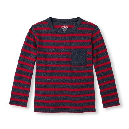 Long Sleeve Striped Marled Knit Top -classicred - The Children's Place