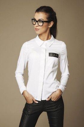 Faux Leather Pocket Patch Shirt Top-white - Ambigante