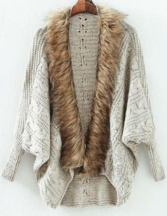 Grey Batwing Long Sleeve Contrast Fur Knit Cardigan - She In