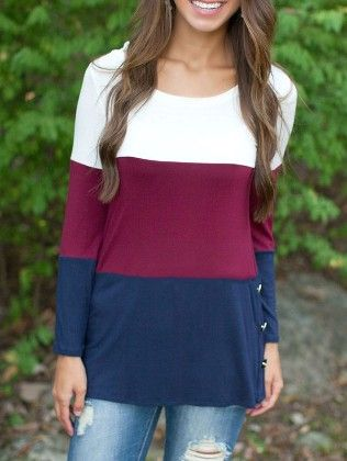 Colour-block Round Neck Buttons T-shirt - She In