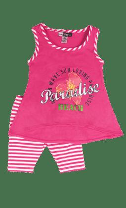 Fuchsia Sleeveless Top And Stripe Legging Set - Baby Ziggles